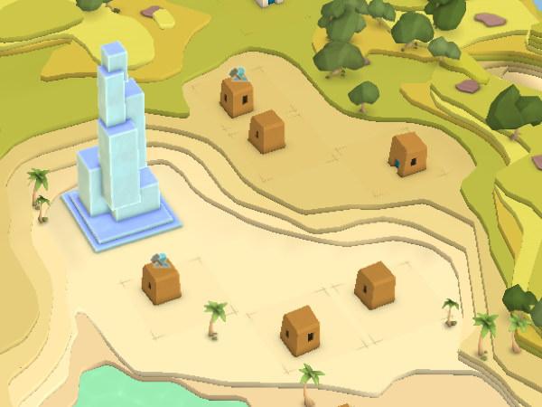 Les premières maisons et le temple