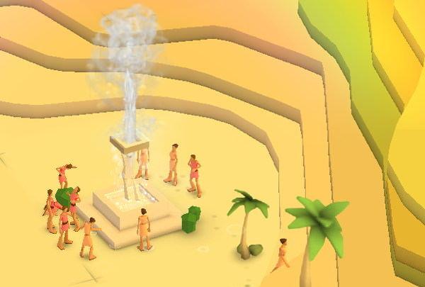 Autour de la fontaine pour une célébration