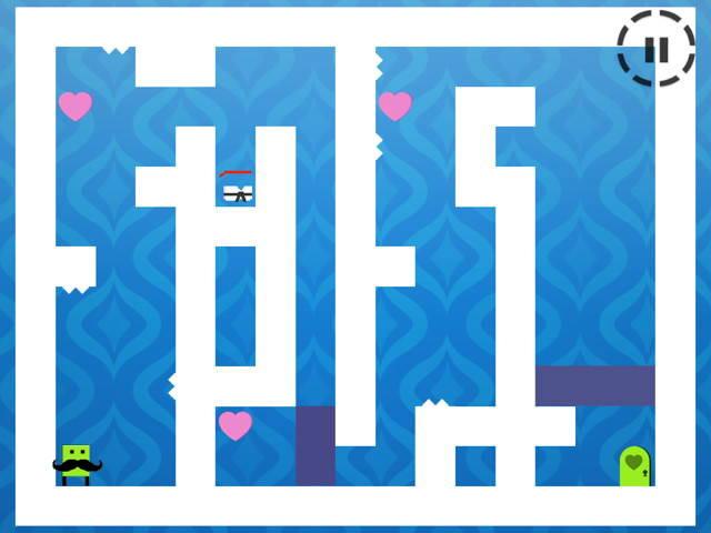 Michel, un cœur, le déguisement, un autre cœur, un bloc, le troisième cœur, un autre bloc et la porte où…