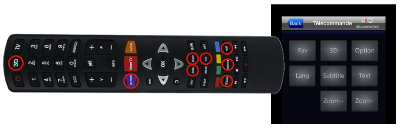 La télécommande TCL et l'écran supplémentaire de l'application Thomson TV Remote