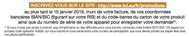 Inscription sur le site avant le 15 janvier 2016